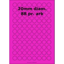 100 ark 20ARH3-P Runde / Ovale Papir Labels