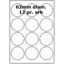 500 ark 63R-3-12H-500 Hvide Papir Labels -Volume køb