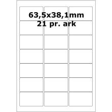 25 ark 63A38W3-25 Hvide Polyester Bredde 61-90mm