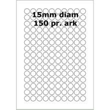 25 ark 15ARW3 Hvide Polyester Runde