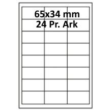 100 ark 65A34UH3-100 Uigennemsigtige Papir Labels