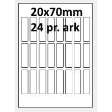 25 ark 20A70W1-25 Hvide Polyester Bredde 00-30mm