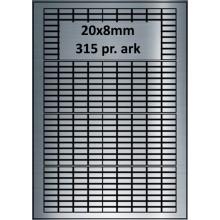 25 ark 20A8SP3-25 Sølvpolyester Bredde 00-30mm