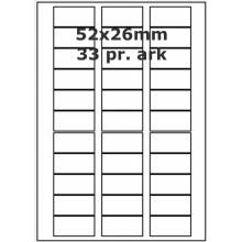 25 ark 52A26W1-25 Hvide Polyester Bredde 31-60mm