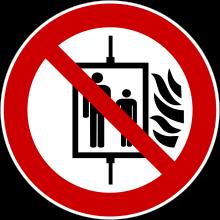 1 Rulle PS3-100-NE Forbudt: Brug af elevator ved brand