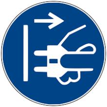 1 Rulle MS3-50-PP Påbud: Træk stikket ud før åbning