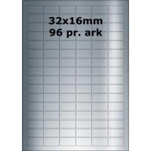 25 ark 32x16-5-S Sølvpolyester Bredde 31-60mm