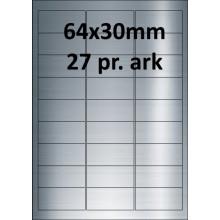 25 ark 64A30BX3-25 Sølv Polyester Extreme klæber