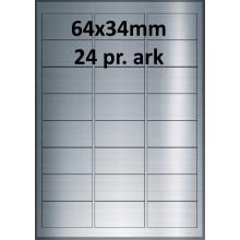 25 ark 64A34BX3-25 Sølv Polyester Extreme klæber