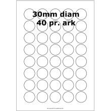 25 ark 30ARW3 Hvide Polyester Runde