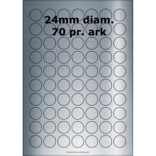 25 ark 24ARSP3-25 Sølvpolyester Runde