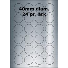 25 ark 40ARSP3-25 Sølvpolyester Runde