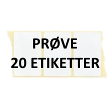 20 etiketter W3-PRØVE Hvid Polyester Kerne 76 mm