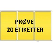 20 etiketter YV3-PRØVE Gul Vinyl Kerne 76