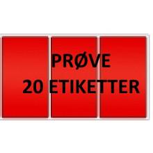 20 etiketter RV3-PRØVE Rød Vinyl Kerne 76