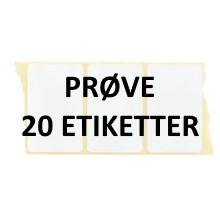 20 etiketter AM3-PRØVE Hvid Polyester på ruller Kerne 25