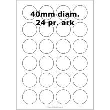 100 ark 40ARH3C Hvid papir Runde / Ovale