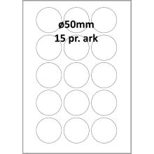 100 ark 50ARH3C Hvid papir Runde / Ovale