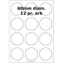 100 ark 60ARH3C Hvid papir Runde / Ovale