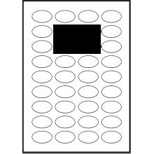 100 ark 41A25ARH3C Hvid papir Runde / Ovale